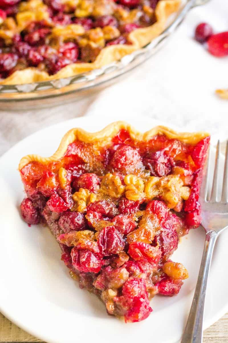 close up of a slice of cranberry pie