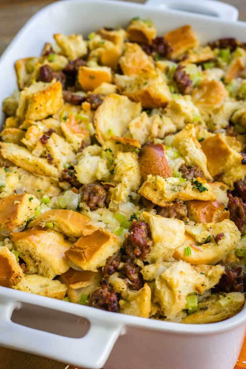 close up of sausage stuffing showing the veggies and golden brown bread