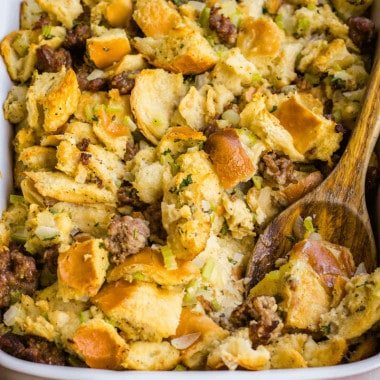 Thanksgiving Sausage Stuffing is a holiday classic that's a must have alongside your turkey! Italian sausage and fresh sage are the flavors of the season!