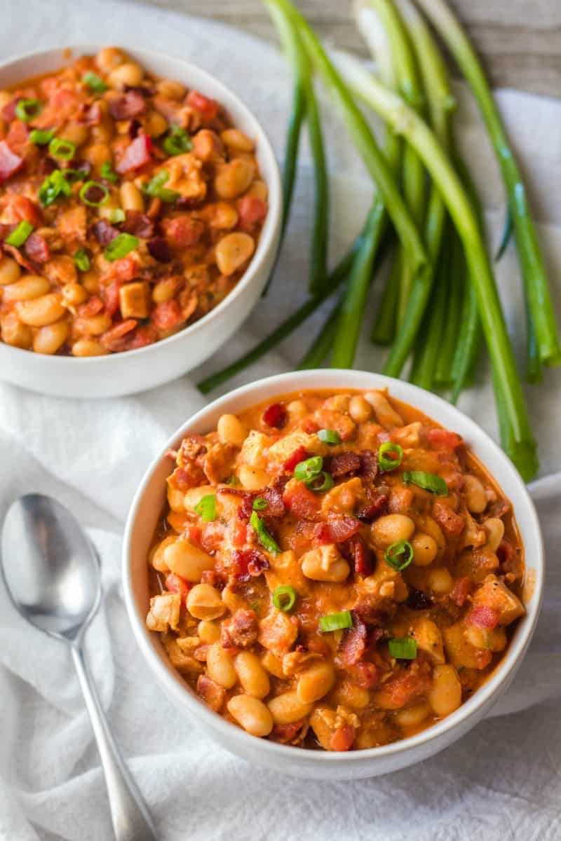two bowls of bacon white chicken chili
