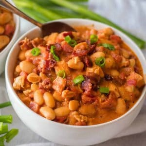 A bowl of hearty, spicy Bacon White Chicken Chili is my favorite on chilly nights! Serve it up for dinner or alongside your favorite meal!