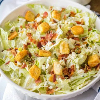 Craving salad? This easy Chopped Wedge Salad is my go-to whether I'm at home or out to eat! Blue cheese & bacon together are always a good idea!