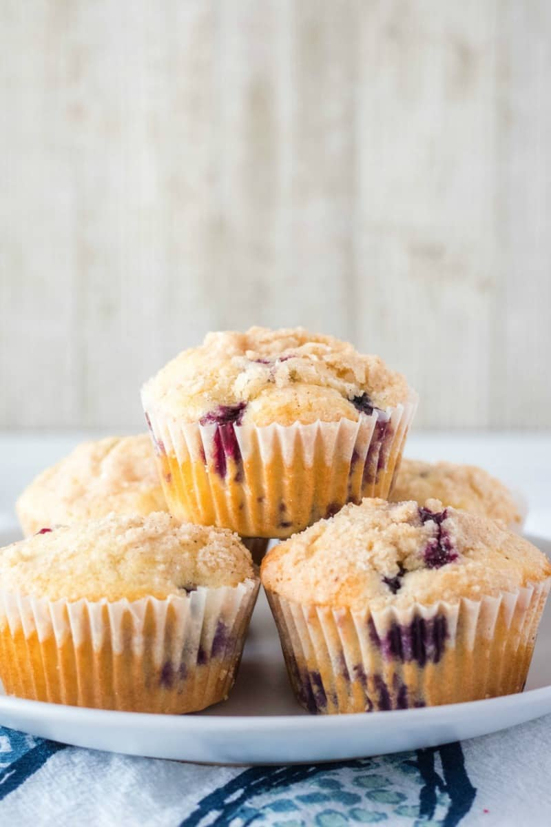 blueberry muffins piled up on plate