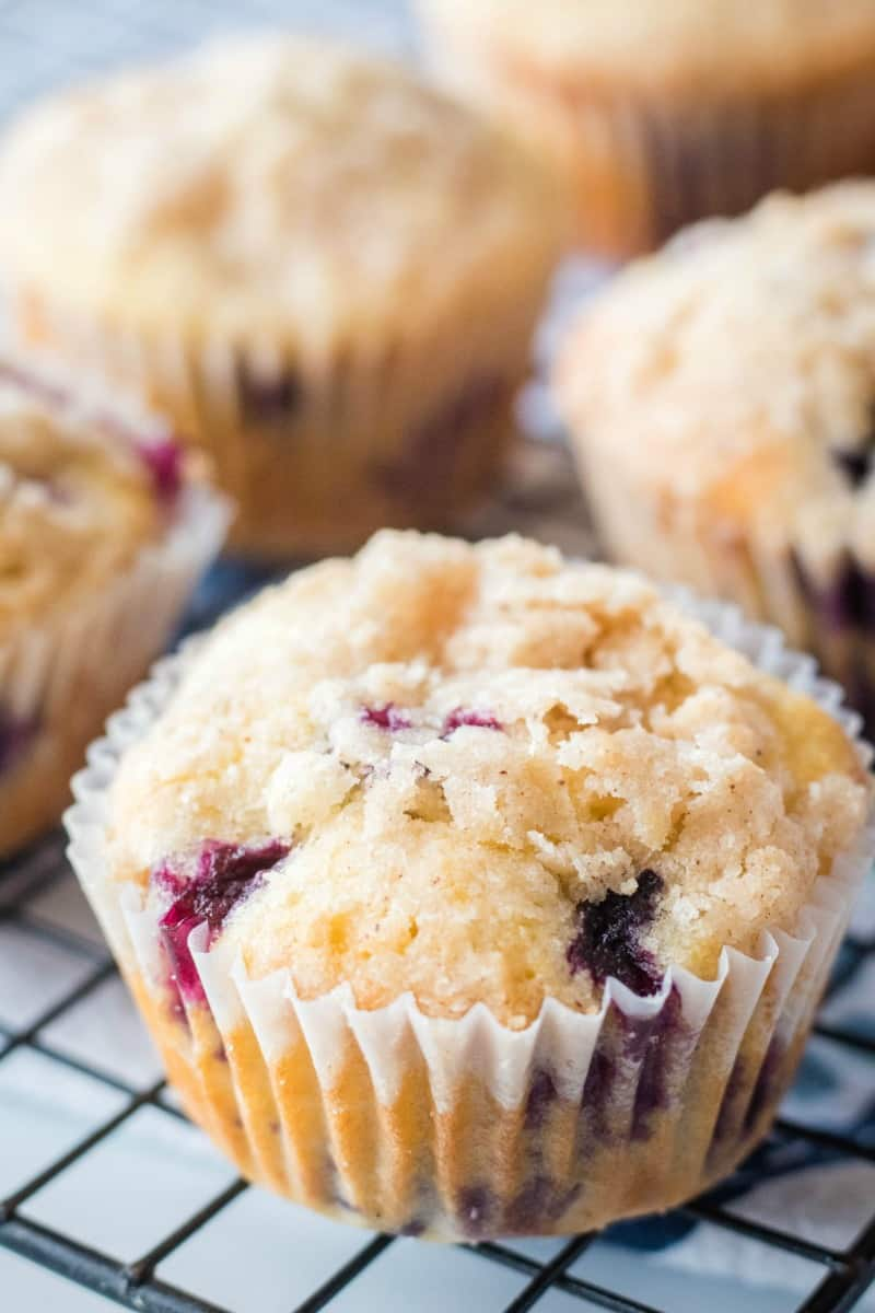 close up of blueberry muffins on a wire rack