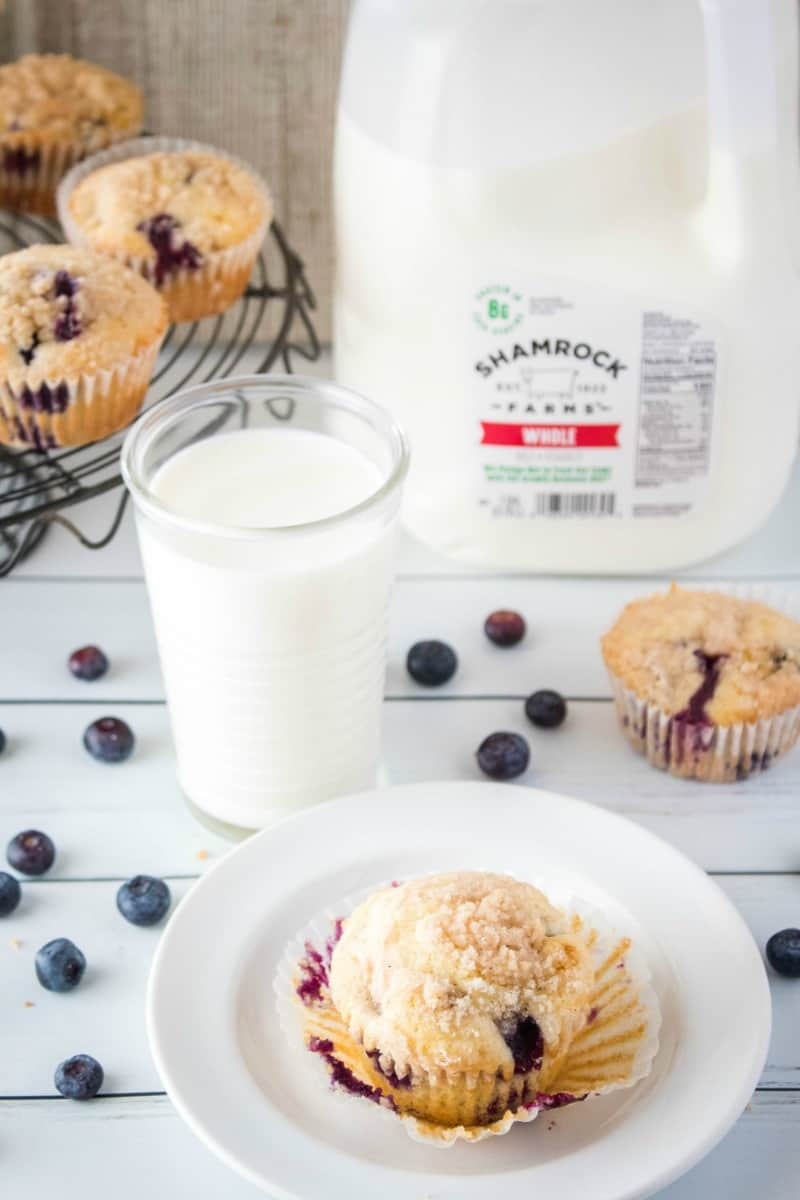 blueberry muffins served up with Sharmrock Farms milk