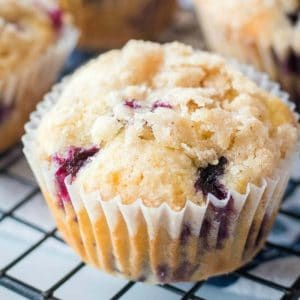 Easy Blueberry Streusel Muffins are a simple recipe made with fresh blueberries that's the perfect way to say good morning to your favorite person!