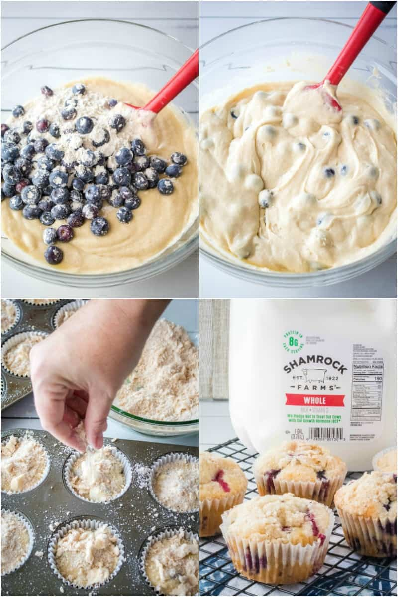 steps to make blueberry streusel muffins
