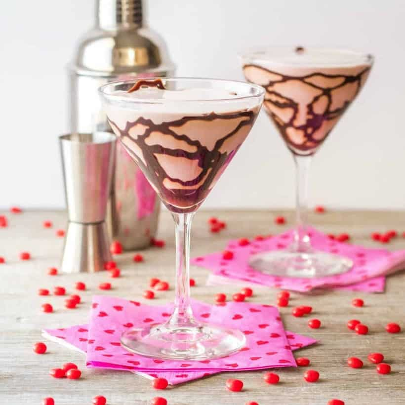 Rich and chocolaty with a kick! This creamy Chocolate Red Hot Martini has a hint of cinnamon for a Valentine's Day favorite!