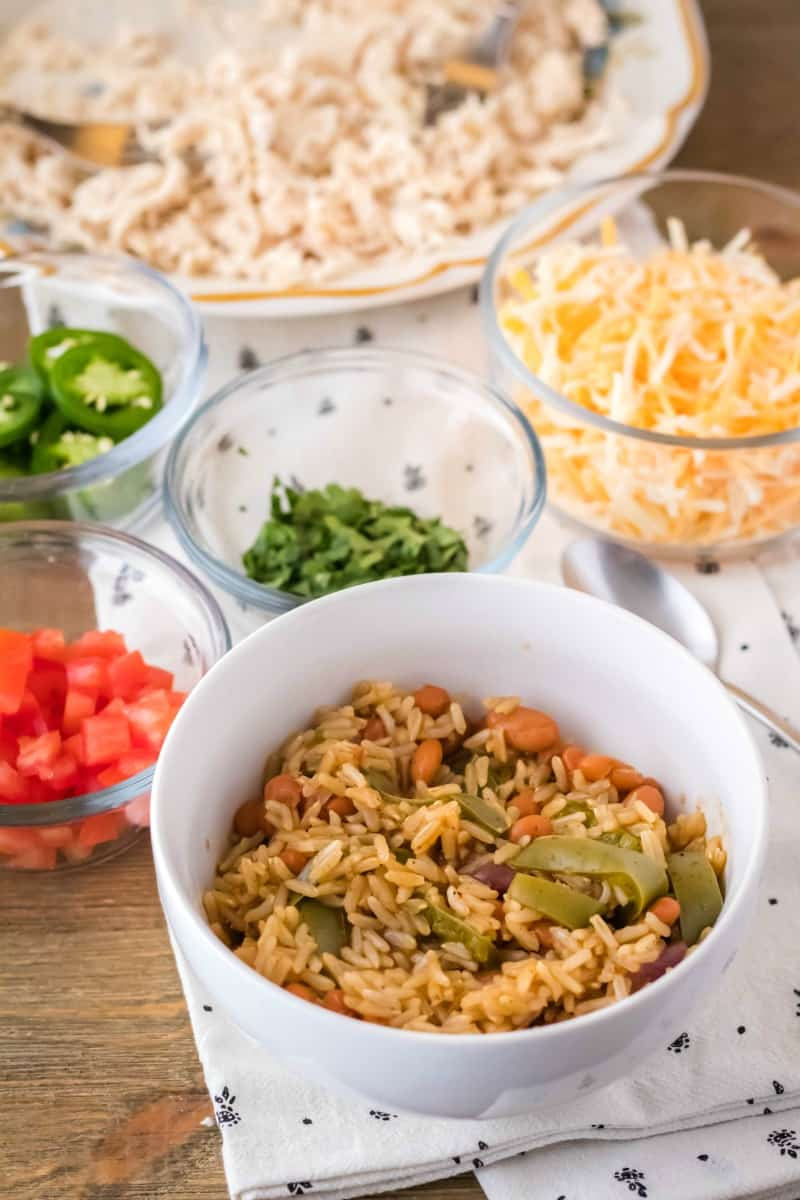 instant pot fajita burrito bowl rice ready to be topped with mix=ins