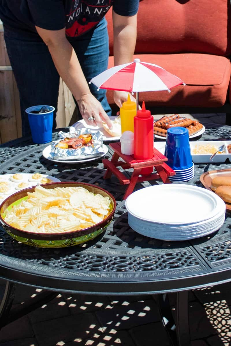 backyard bbq spread on patio table