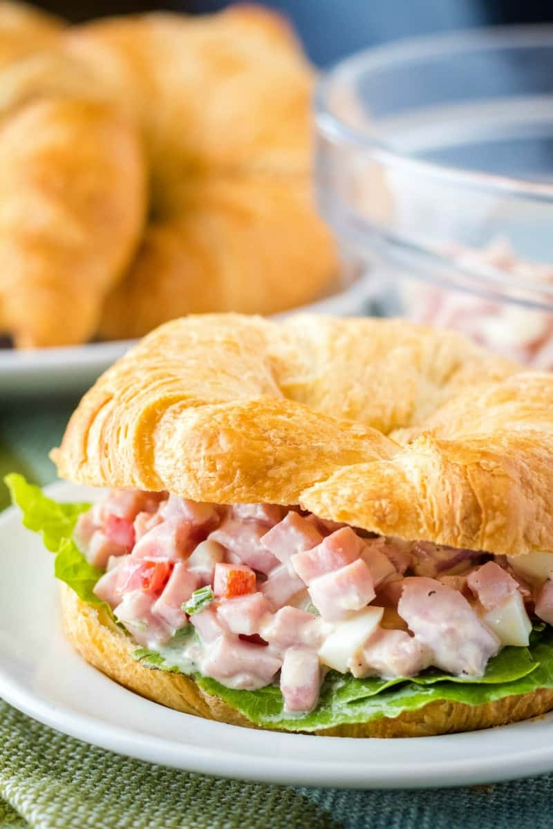 ham salad on a croissant with lettuce