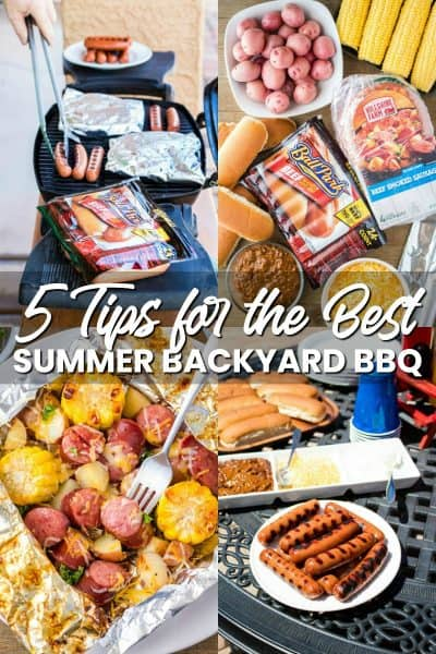 collage of backyard BBQ foods and grilling