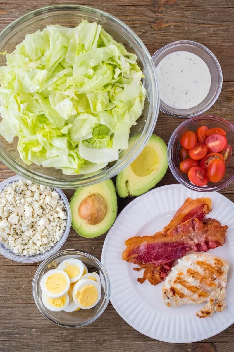 ingredients to make a cobb salad