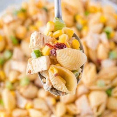 Chipotle Chicken Pasta Salad has a kick of heat for a potluck recipe that can't be beat! An easy make-ahead recipe - the longer it sits, the better it gets!
