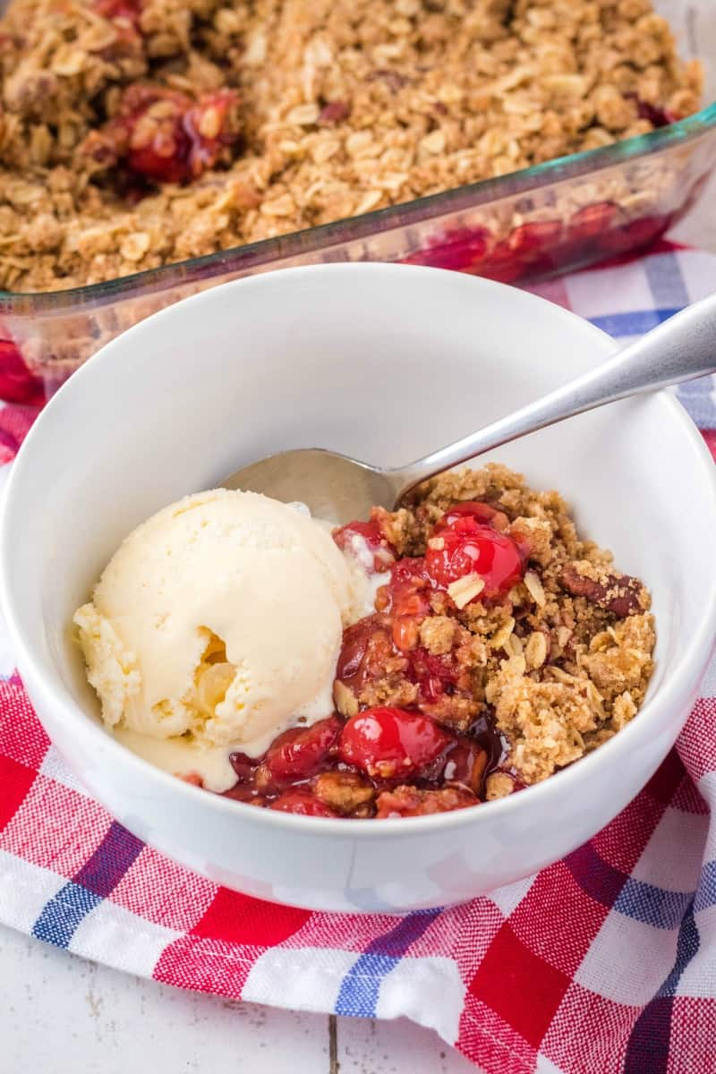 cherry crisp and vanilla ice cream