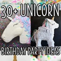 vertical collage of unicorn birthday party ideas with white text