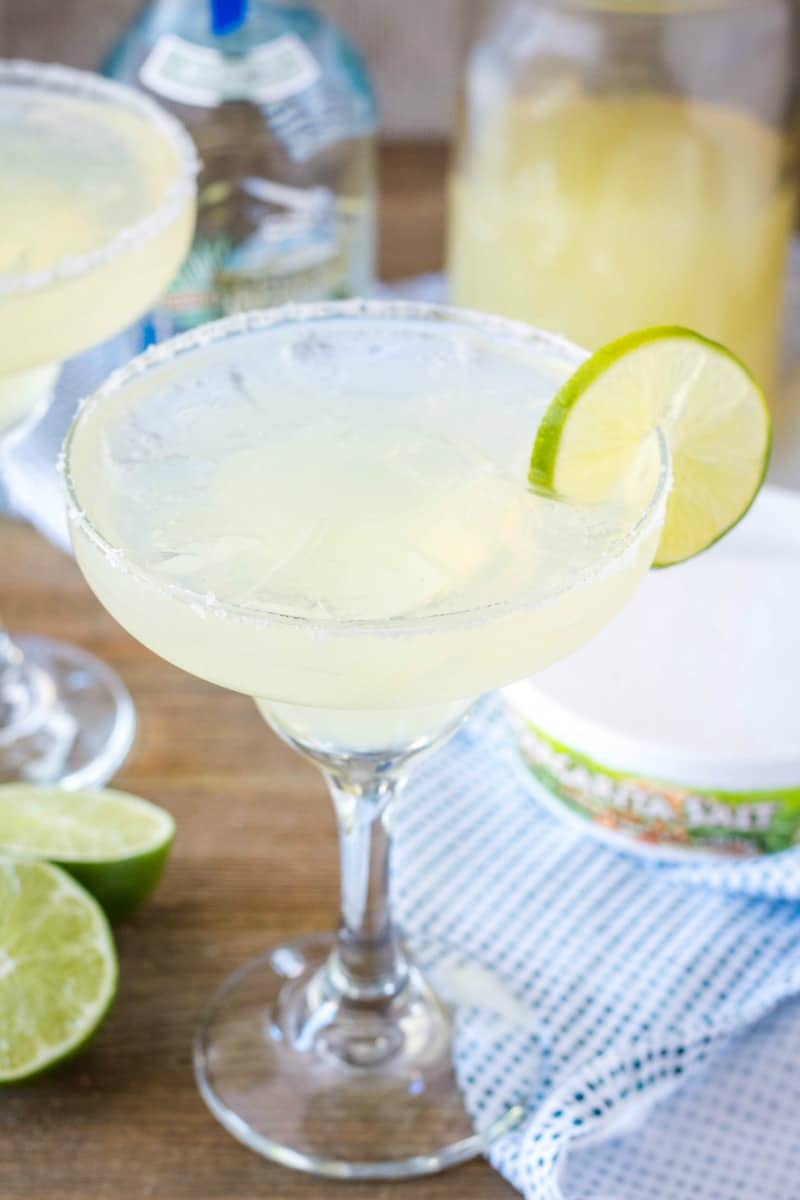 margarita on the rocks with salt and lime