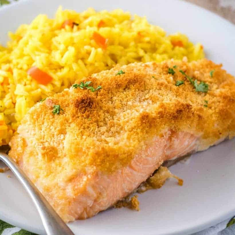 You could be eating this totally divine Parmesan Crusted Salmon in only 20 minutes! With less than 7 ingredients, it's super easy to make and delicious!