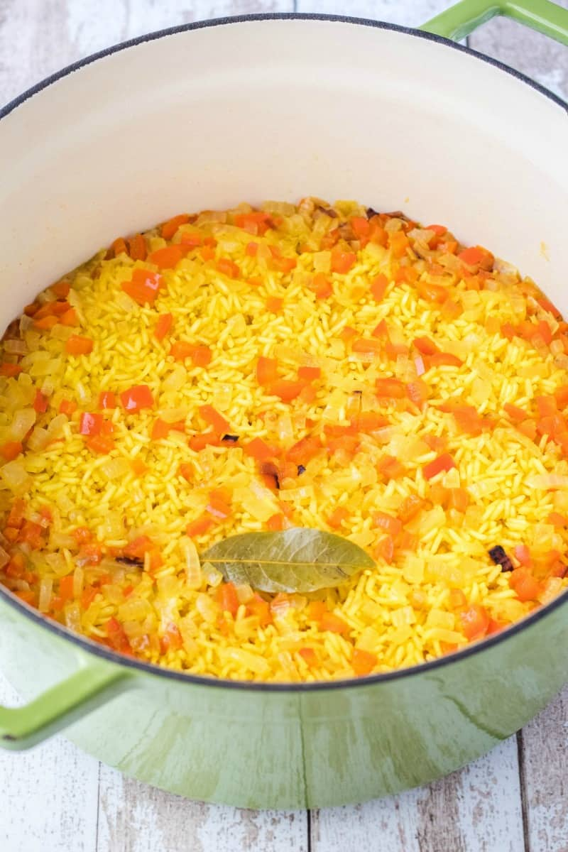 rice pilaf in a pot after cooking