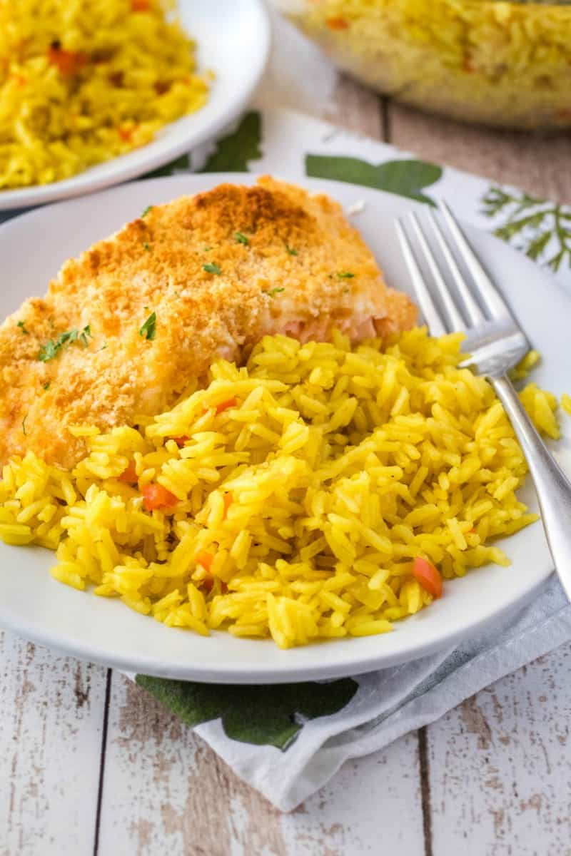 rice pilaf served with salmon