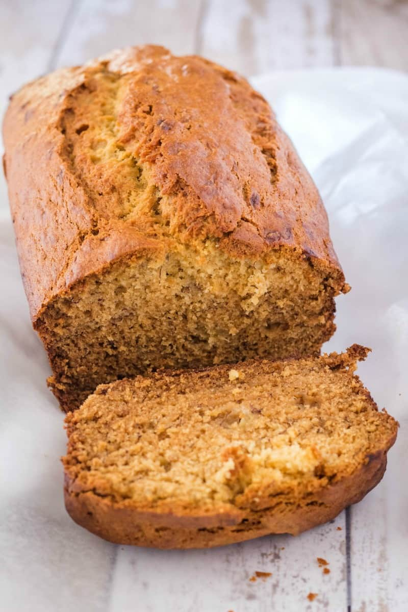 banana bread loaf with a slice cut off