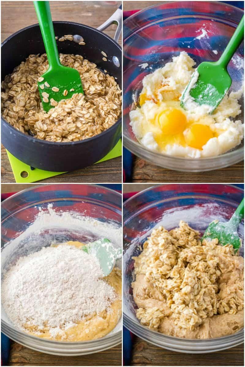 steps to make old-fashioned oatmeal cake