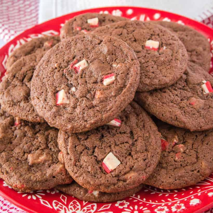 Chocolate Peppermint Crunch Cookies are perfect for your cookie exchange. Rich, chocolate cookies with Andes peppermint crunch pieces are a Christmas win!