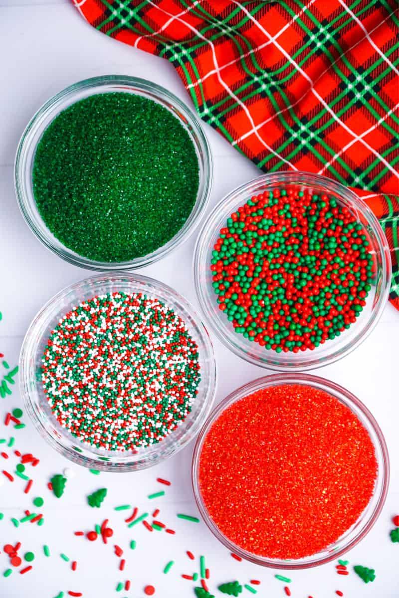 christmas sprinkles in bowls