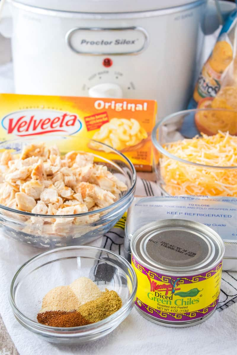 ingredients for crock pot chicken queso dip