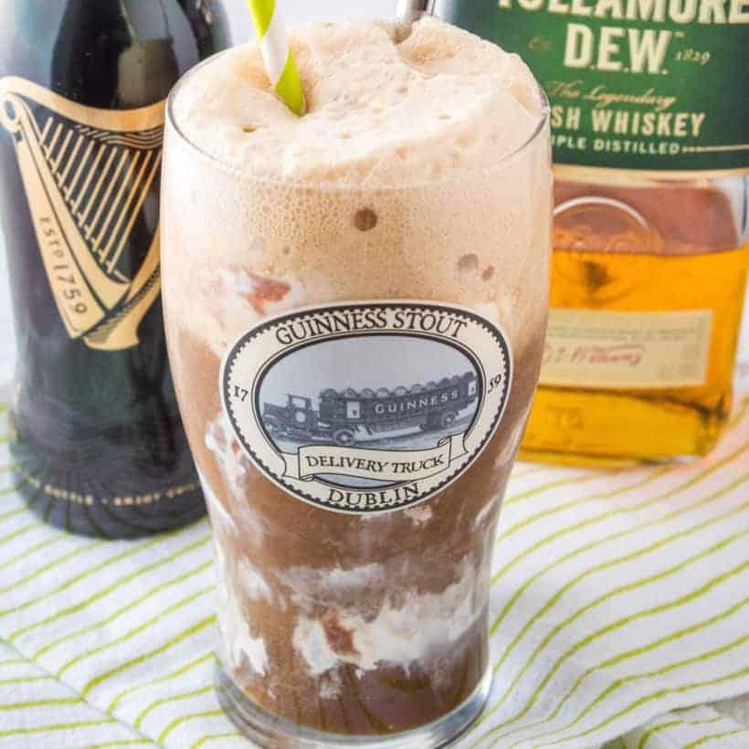 Turn a classic bar shot into a yummy cocktail with this Car Bomb Float recipe! Irish cream ice cream, Guinness & Irish whiskey will make anyone feel Irish!