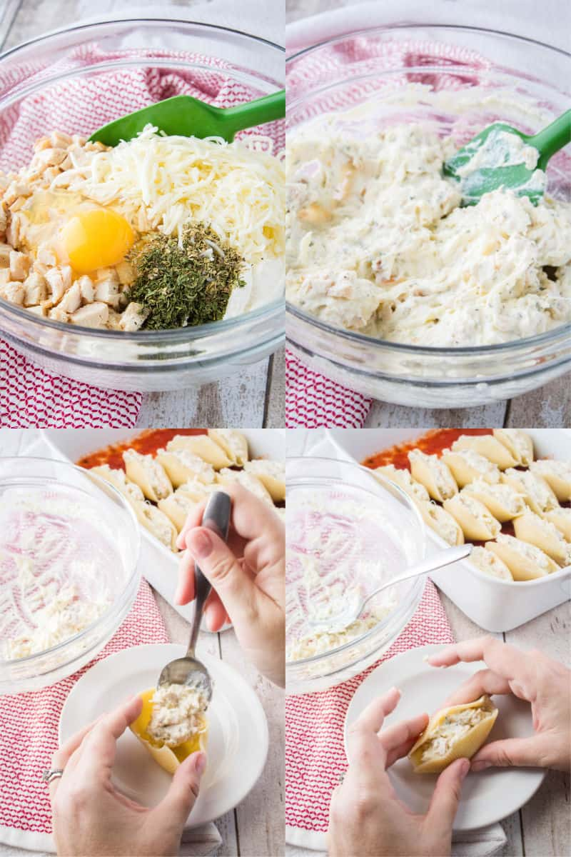how to make stuffed shell filling and add it to pasta