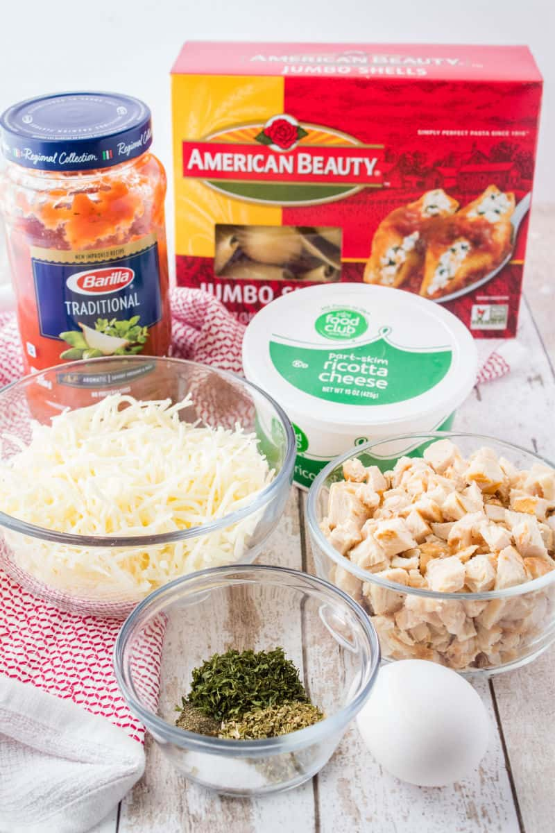 ingredients for chicken stuffed pasta shells