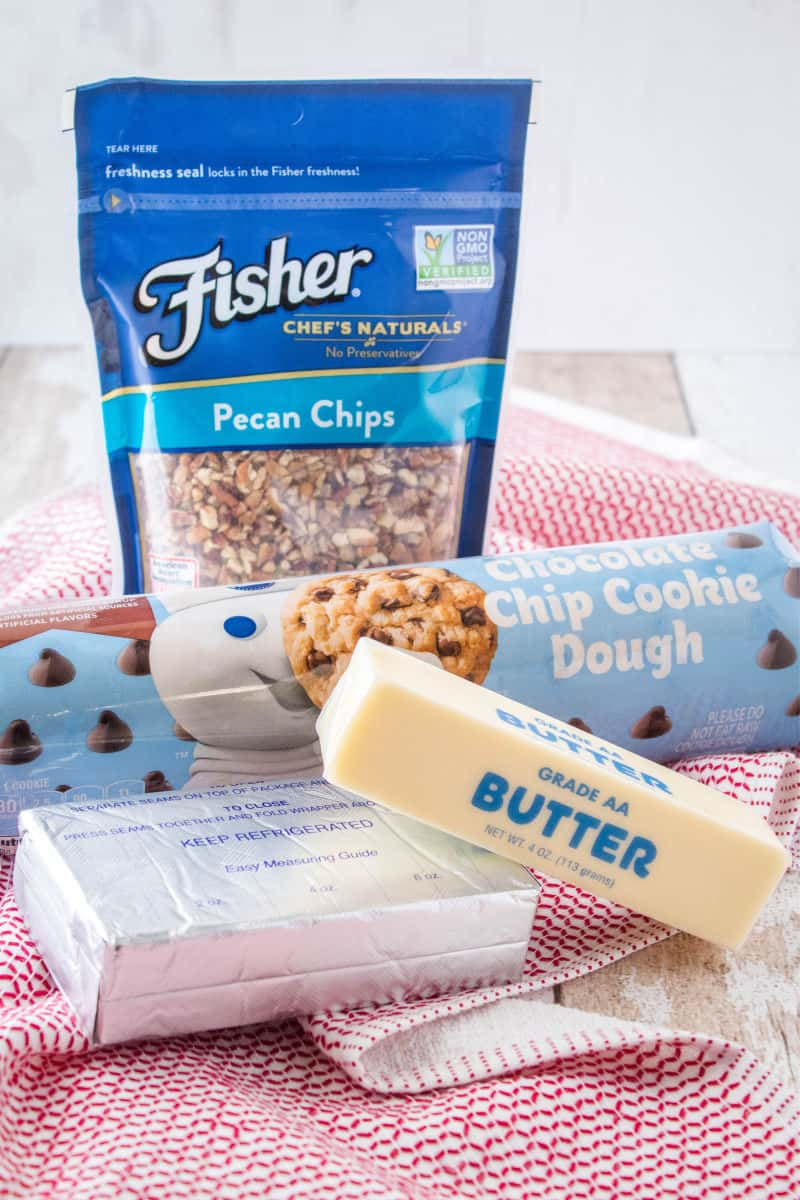 ingredients for chocolate chip cookie dough cheese ball