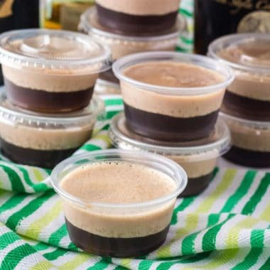 Get your St. Patrick's Day party started with Irish Car Bomb Jello Shots! Easy to make and even tastier than the original shot!