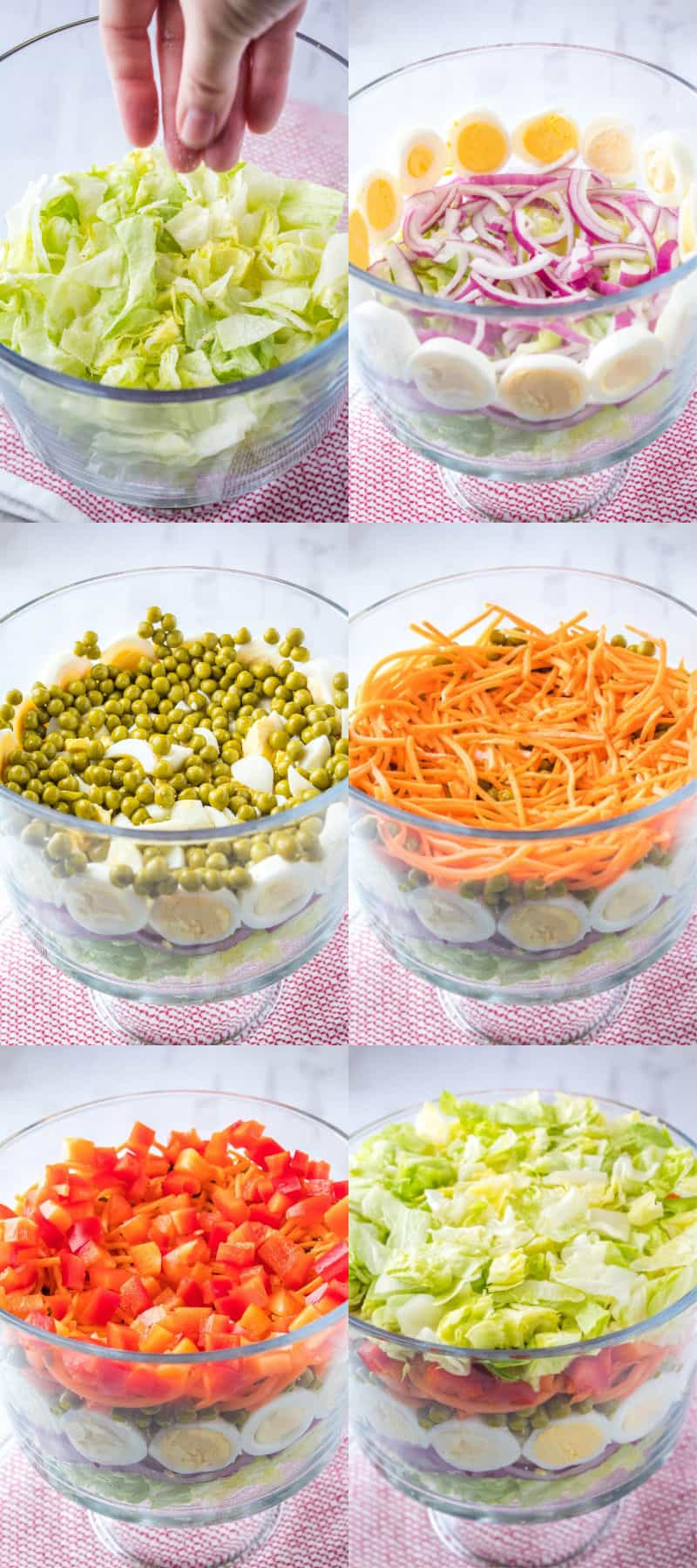 steps to build seven layer salad