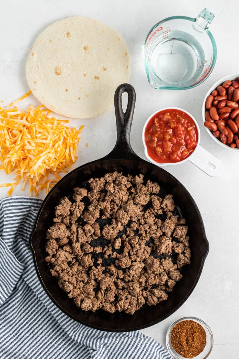 ingredients for a beef burrito skillet