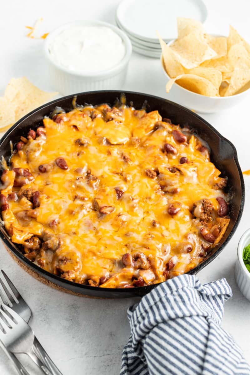 burrito skillet topped with melted cheese