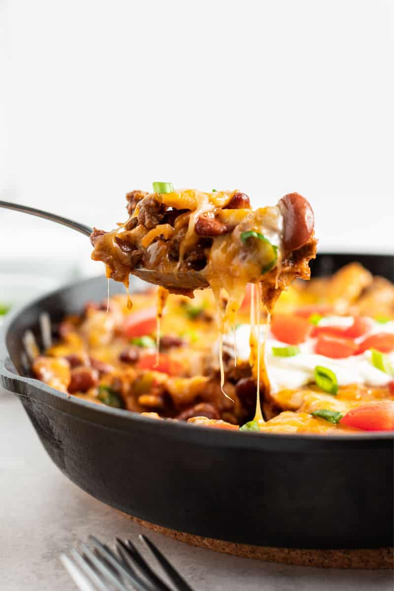 spoonful of beef burrito skillet with beans