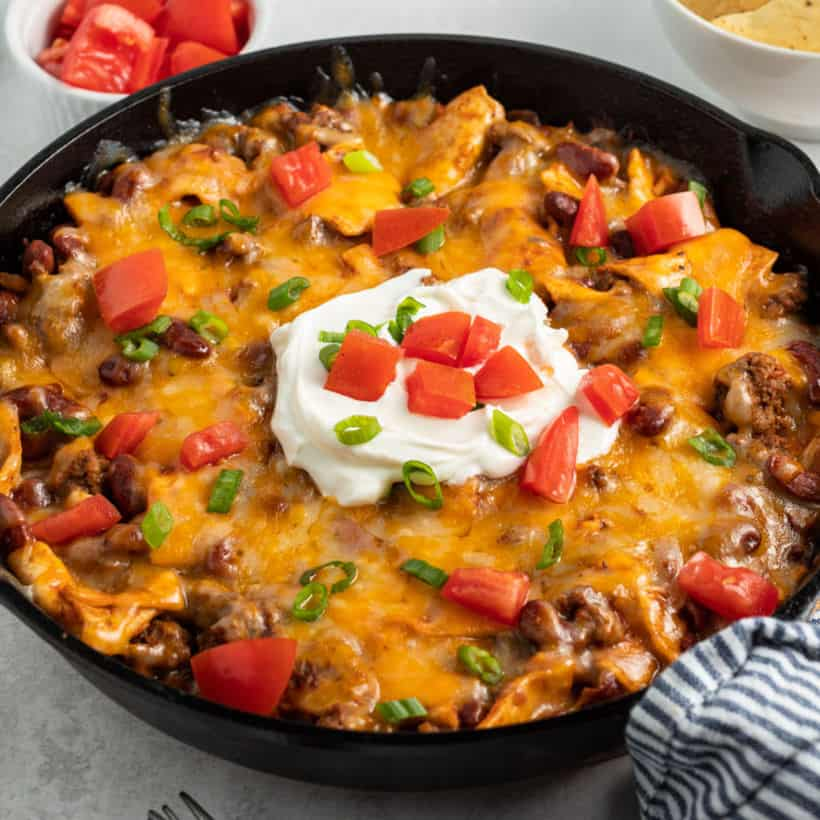 Satisfy your burrito cravings with an easy, one-pan Beef Burrito Skillet! Cook it on the stove or on the grill for a tasty meal ready in under 30 minutes!