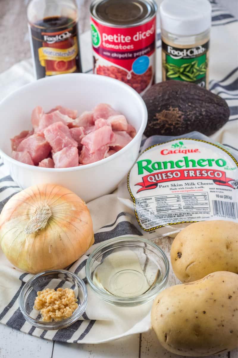 ingredients for pork tinga