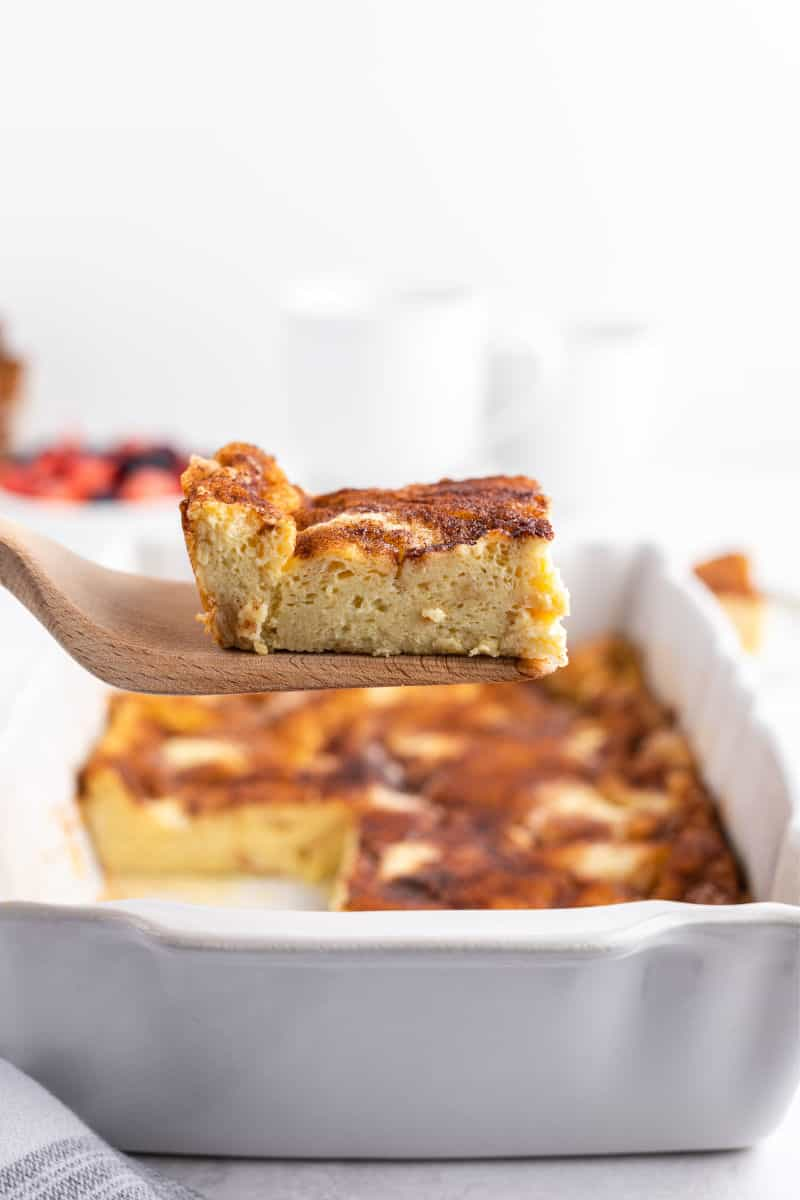 spatula with a slice of french toast casserole on it
