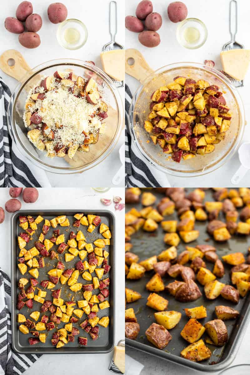 cubed red potatoes in a bowl with Parmesan cheese and seasonings, potatoes, spices, and Parmesan stirred together in a bowl, red potatoes spread out on a baking sheet, close up of roasted red potatoes on a baking sheet