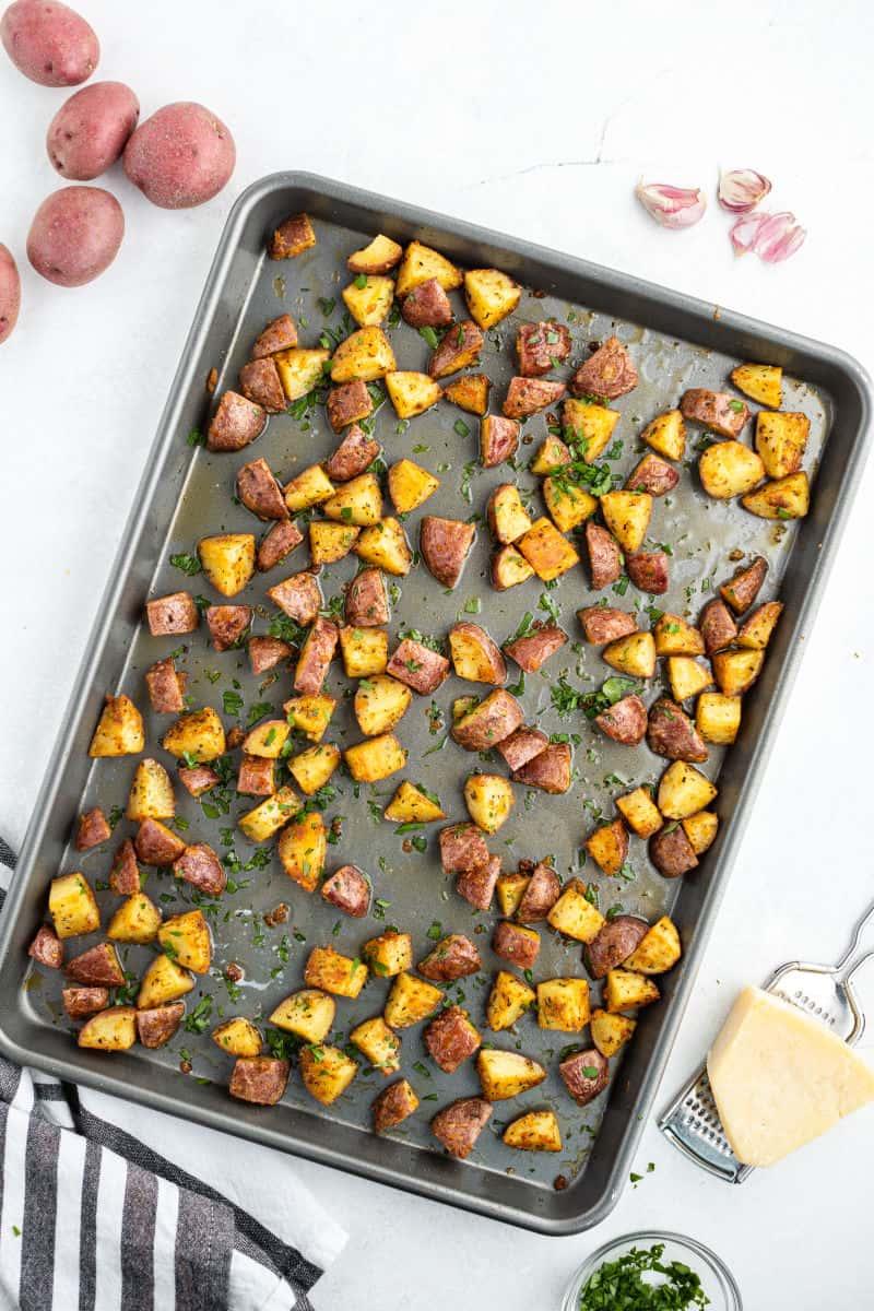 sheet pan with garlic parmesan roasted red potatoes