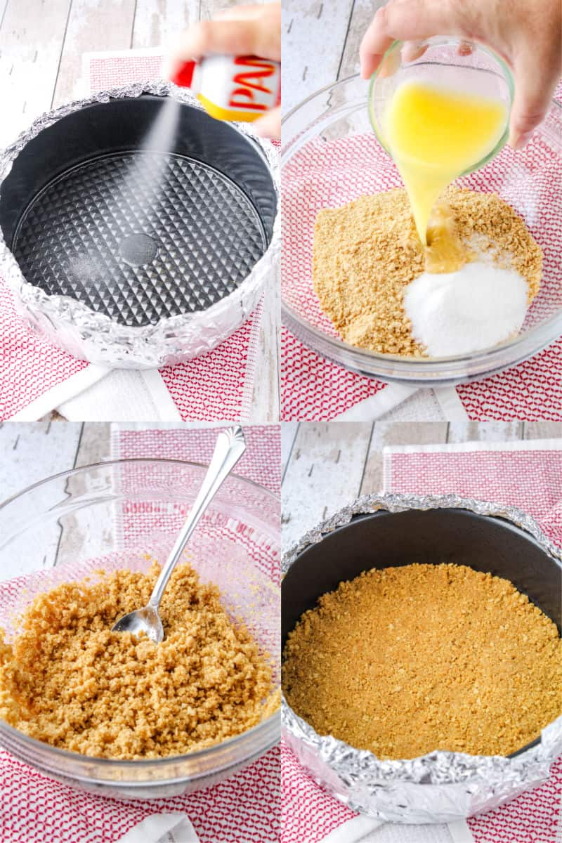springform pan wrapped in foil being spray with non-stick cooking spray, graham crack crumbs, sugar, and butter in a mixing bowl, graham crack mixture mixed up in bowl, graham cracker crust in spring form pan after baking