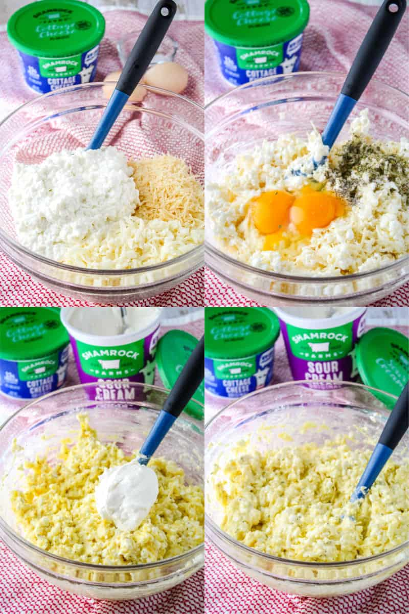 Shamrock Farms cottage cheese, mozzarella, and parmesan in a mixing bowl, same cheeses mixed up with 2 eggs and spices on top, cheese mixture with a dollop of Shamrock Farms sour cream on top, cheese filling mixture combined in a mixing bowl