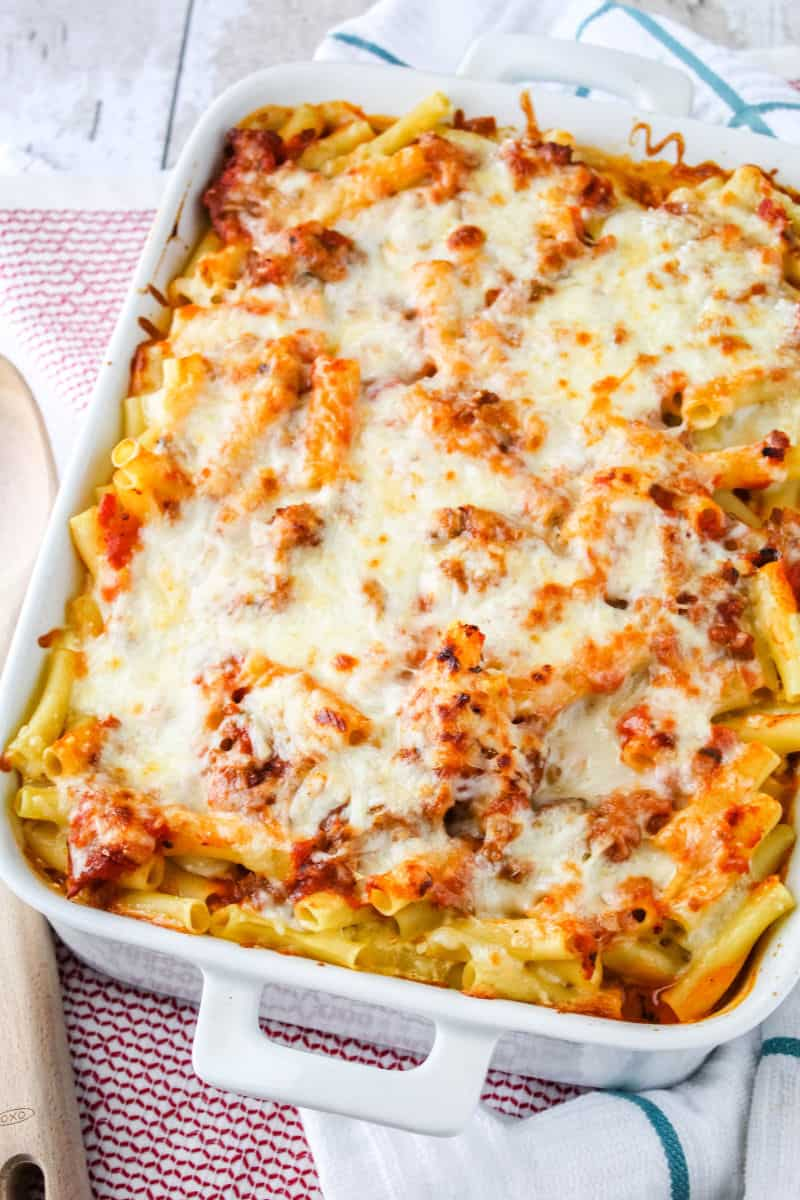 baked ziti in a baking dish right after cooking