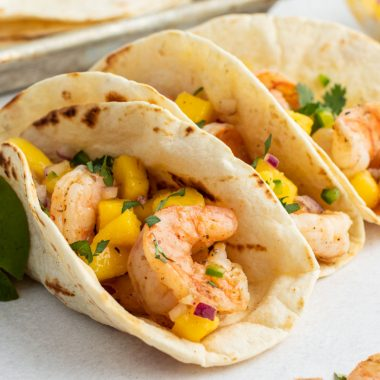 grilled shrimp and mango salsa in flour tortillas for tacos