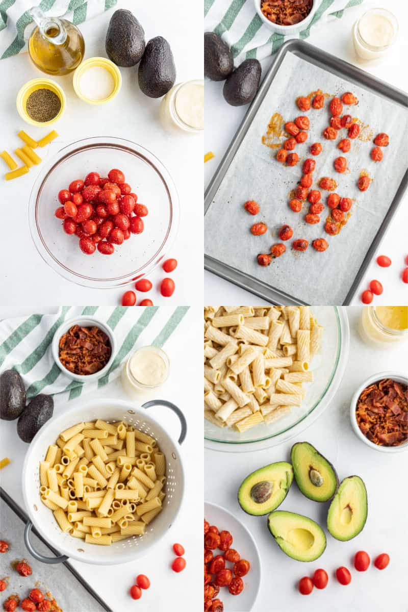 tomatoes, olive oil, salt & pepper in a mixing bow, roasted tomatoes on a bakign sheet, cooked rigatoni pasta in a colander, avocados cut in half