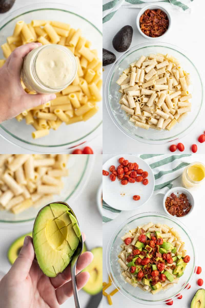 avocaod ranch dressing in a jar, cooked rigatoni tossed in dressing in a bowl, spoon scooping diced avocado from the peel, rigatoni with dressing, bacon, roasted tomatoes, and avocado in a bowl before mixing