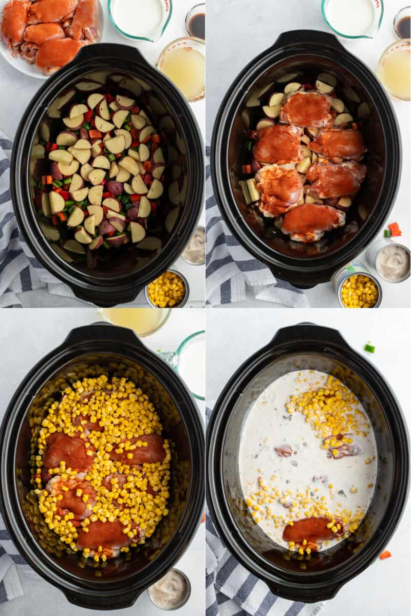 chopped potatoes and bell peppers in the bottom of a slow cooker, seasoning chicken thighs placed on top of the potatoes, corn poured over the chicken thighs, cream and other liquid ingredients poured over chicken thighs and vegetables